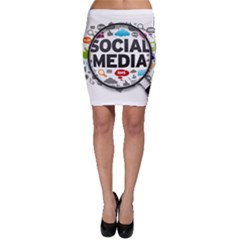 Social Media Computer Internet Typography Text Poster Bodycon Skirt