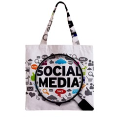 Social Media Computer Internet Typography Text Poster Zipper Grocery Tote Bag