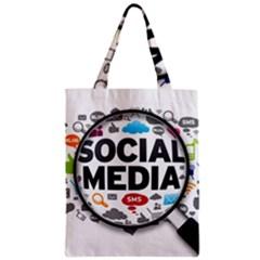 Social Media Computer Internet Typography Text Poster Zipper Classic Tote Bag