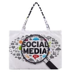 Social Media Computer Internet Typography Text Poster Medium Zipper Tote Bag