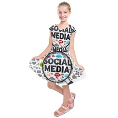 Social Media Computer Internet Typography Text Poster Kids  Short Sleeve Dress