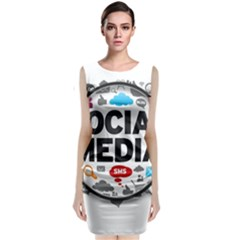 Social Media Computer Internet Typography Text Poster Sleeveless Velvet Midi Dress