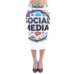 Social Media Computer Internet Typography Text Poster Velvet Midi Pencil Skirt