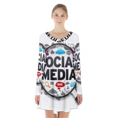 Social Media Computer Internet Typography Text Poster Long Sleeve Velvet V Neck Dress