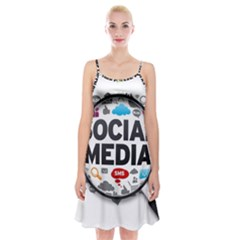 Social Media Computer Internet Typography Text Poster Spaghetti Strap Velvet Dress