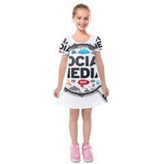 Social Media Computer Internet Typography Text Poster Kids  Short Sleeve Velvet Dress