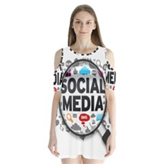 Social Media Computer Internet Typography Text Poster Shoulder Cutout Velvet  One Piece