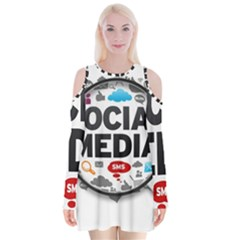 Social Media Computer Internet Typography Text Poster Velvet Long Sleeve Shoulder Cutout Dress
