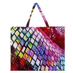 Multicolor Wall Mosaic Zipper Large Tote Bag