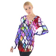 Multicolor Wall Mosaic Women s Tie Up Tee
