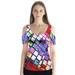 Multicolor Wall Mosaic Butterfly Sleeve Cutout Tee