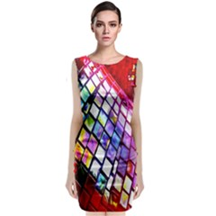 Multicolor Wall Mosaic Sleeveless Velvet Midi Dress