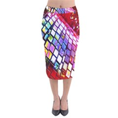 Multicolor Wall Mosaic Velvet Midi Pencil Skirt