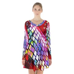 Multicolor Wall Mosaic Long Sleeve Velvet V Neck Dress