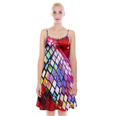 Multicolor Wall Mosaic Spaghetti Strap Velvet Dress
