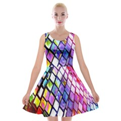 Multicolor Wall Mosaic Velvet Skater Dress