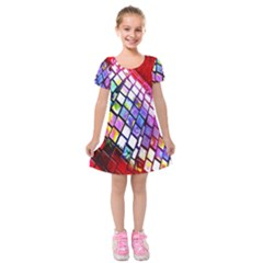 Multicolor Wall Mosaic Kids  Short Sleeve Velvet Dress