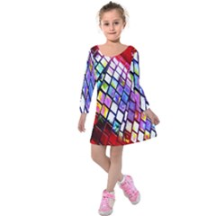 Multicolor Wall Mosaic Kids  Long Sleeve Velvet Dress