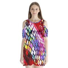 Multicolor Wall Mosaic Shoulder Cutout Velvet  One Piece