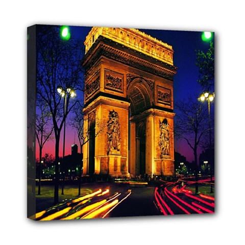Paris Cityscapes Lights Multicolor France Mini Canvas 8  x 8