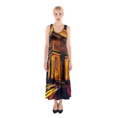 Paris Cityscapes Lights Multicolor France Sleeveless Maxi Dress