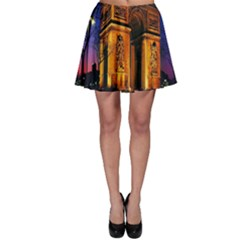 Paris Cityscapes Lights Multicolor France Skater Skirt