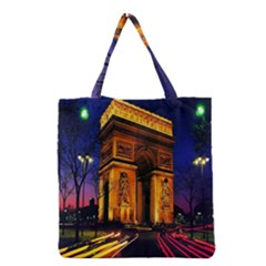 Paris Cityscapes Lights Multicolor France Grocery Tote Bag