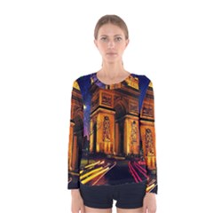 Paris Cityscapes Lights Multicolor France Women s Long Sleeve Tee