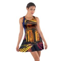 Paris Cityscapes Lights Multicolor France Cotton Racerback Dress