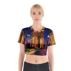 Paris Cityscapes Lights Multicolor France Cotton Crop Top