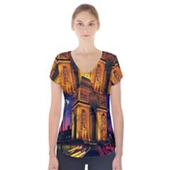 Paris Cityscapes Lights Multicolor France Short Sleeve Front Detail Top