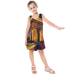 Paris Cityscapes Lights Multicolor France Kids  Sleeveless Dress