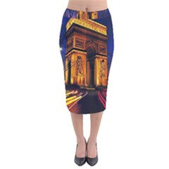 Paris Cityscapes Lights Multicolor France Velvet Midi Pencil Skirt