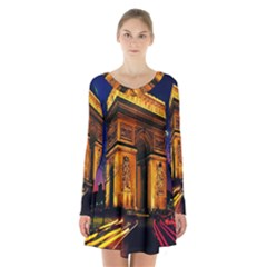 Paris Cityscapes Lights Multicolor France Long Sleeve Velvet V Neck Dress