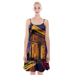 Paris Cityscapes Lights Multicolor France Spaghetti Strap Velvet Dress