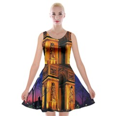 Paris Cityscapes Lights Multicolor France Velvet Skater Dress