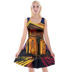 Paris Cityscapes Lights Multicolor France Reversible Velvet Sleeveless Dress