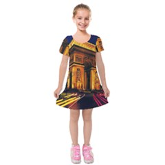 Paris Cityscapes Lights Multicolor France Kids  Short Sleeve Velvet Dress