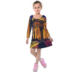Paris Cityscapes Lights Multicolor France Kids  Long Sleeve Velvet Dress