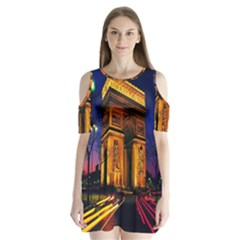 Paris Cityscapes Lights Multicolor France Shoulder Cutout Velvet  One Piece