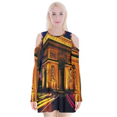 Paris Cityscapes Lights Multicolor France Velvet Long Sleeve Shoulder Cutout Dress