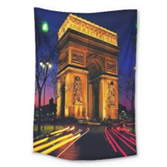 Paris Cityscapes Lights Multicolor France Large Tapestry