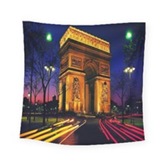 Paris Cityscapes Lights Multicolor France Square Tapestry (small)