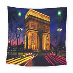Paris Cityscapes Lights Multicolor France Square Tapestry (Large)