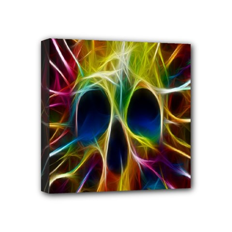 Skulls Multicolor Fractalius Colors Colorful Mini Canvas 4  X 4