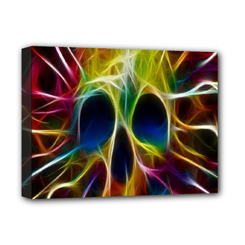 Skulls Multicolor Fractalius Colors Colorful Deluxe Canvas 16  X 12