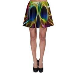 Skulls Multicolor Fractalius Colors Colorful Skater Skirt