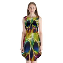 Skulls Multicolor Fractalius Colors Colorful Sleeveless Chiffon Dress