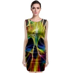 Skulls Multicolor Fractalius Colors Colorful Sleeveless Velvet Midi Dress