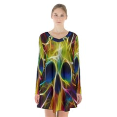 Skulls Multicolor Fractalius Colors Colorful Long Sleeve Velvet V Neck Dress